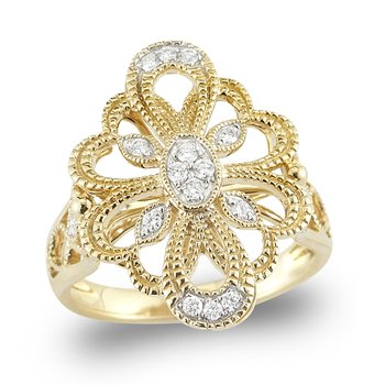 14K Gold open Filigree and Diamond Ring