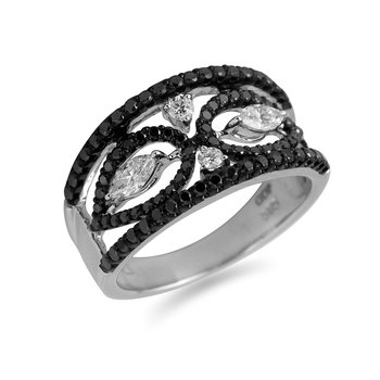 14K WG Black and Marquis Diamond Ring