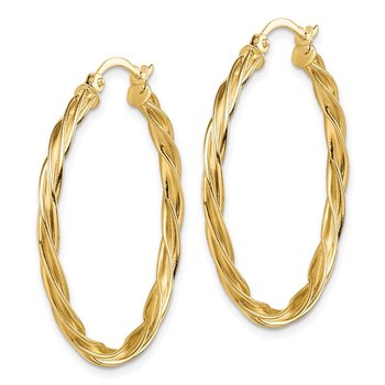 14K Polished 2.5mm Twisted Hoop Earrings