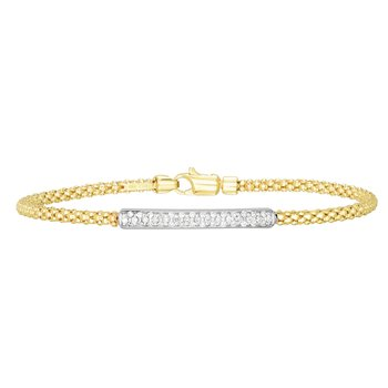 14K Gold Popcorn Diamond Bar Bracelet