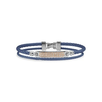 Blueberry Cable ID Bracelet with 18kt Rose Gold & Diamonds