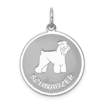 Sterling Silver Rhodium-plated Schnauzer Disc Charm