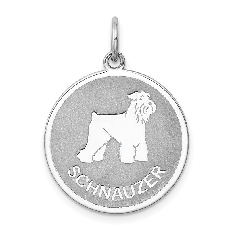 Quality Gold Sterling Silver Rhodium-plated Schnauzer Disc Charm