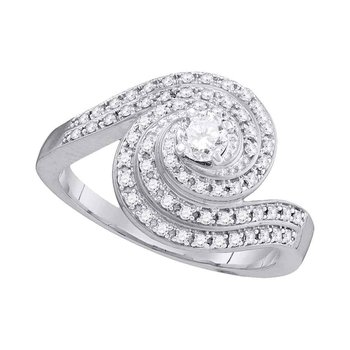 10k White Gold Womens Round Diamond Swirled Bridal Wedding Engagement Ring 1/2 Cttw