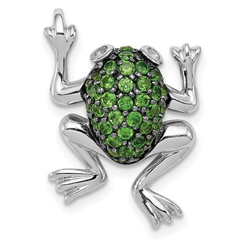 Sterling Silver Rhodium White Topaz & Chrome Diopside Frog Pendant