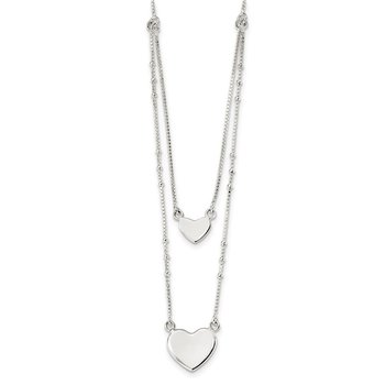 Sterling Silver Polished 2-Strand Heart Dangle Necklace