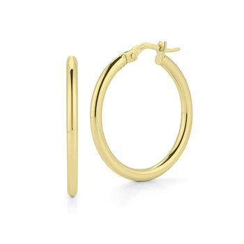 18Kt Gold Oval Hoop Earrings