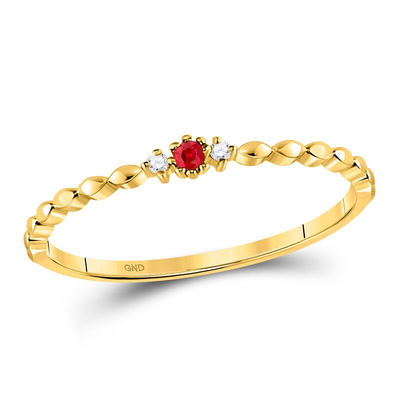 Kingdom Treasures 10kt Yellow Gold Womens Round Ruby Solitaire Diamond Stackable Band Ring .03 Cttw
