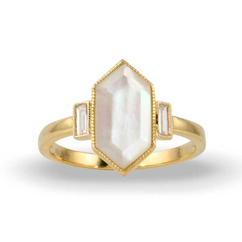 Doves White Orchid Bezel Set Ring 18KY