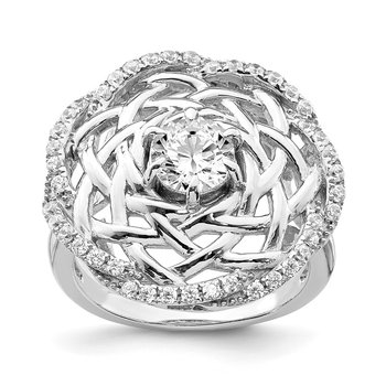 Sterling Silver Rhodium-plated 6mm CZ Center Woven Ring