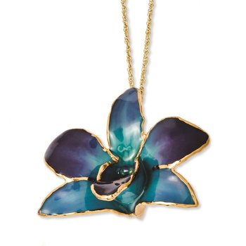 24K Gold-trim Lacquer Dipped Purple/Blue Dendrobium Orchid Necklace
