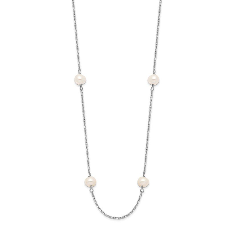 Quality Gold 14K WG 4-5mm White Near Round FW Cultured Pearl 8-station Necklace
