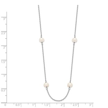 14K WG 4-5mm White Near Round FW Cultured Pearl 8-station Necklace