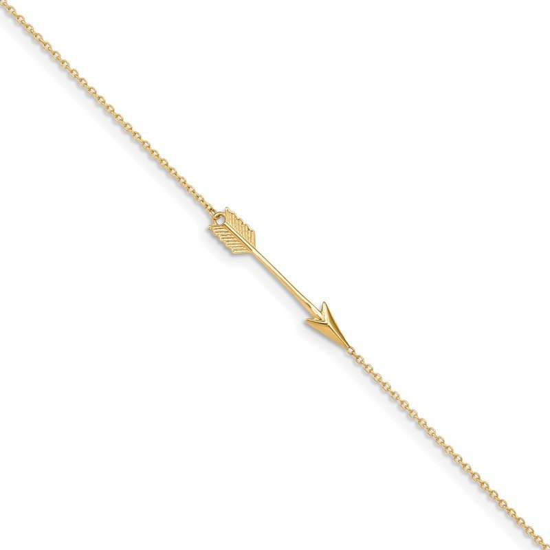 Quality Gold 14K Polished Arrow 9in Plus 1in ext. Anklet