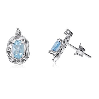 14k White Gold Aquamarine Scroll Diamond Earrings