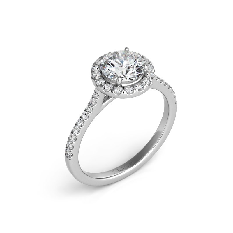 S. Kashi  & Sons Palladium Halo Engagement Ring