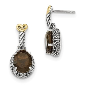 Sterling Silver w/14ky Smoky Quartz Post Dangle Earrings