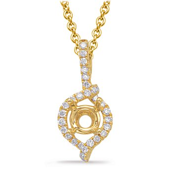 Diamond Pendant For 1ct Round Stone