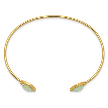Sterling Silver Gold-tone CZ & Green Stone Bangle