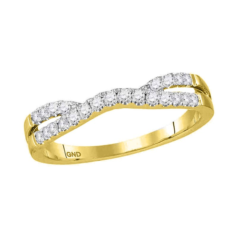 Gold-N-Diamonds, Inc. (Atlanta) 14kt Yellow Gold Womens Round Diamond Contour Enhancer Wedding Band 1/4 Cttw