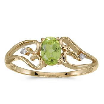 10k Yellow Gold Oval Peridot And Diamond Ring