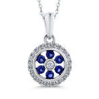 Essentials 10K White Gold Round .14 ct Diamond & .12 ct Blue Sapphire Fashion Pendant with Chain