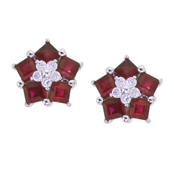 14k White Gold Ruby and Diamond Floral Star Earrings
