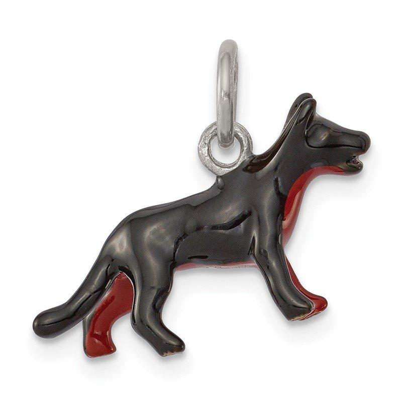 Quality Gold Sterling Silver Enameled German Shepherd Pendant