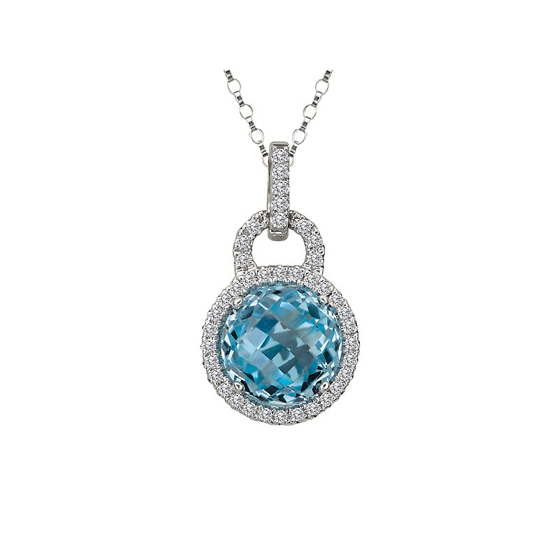 Tesoro Diamond and Gemstone Halo Pendant