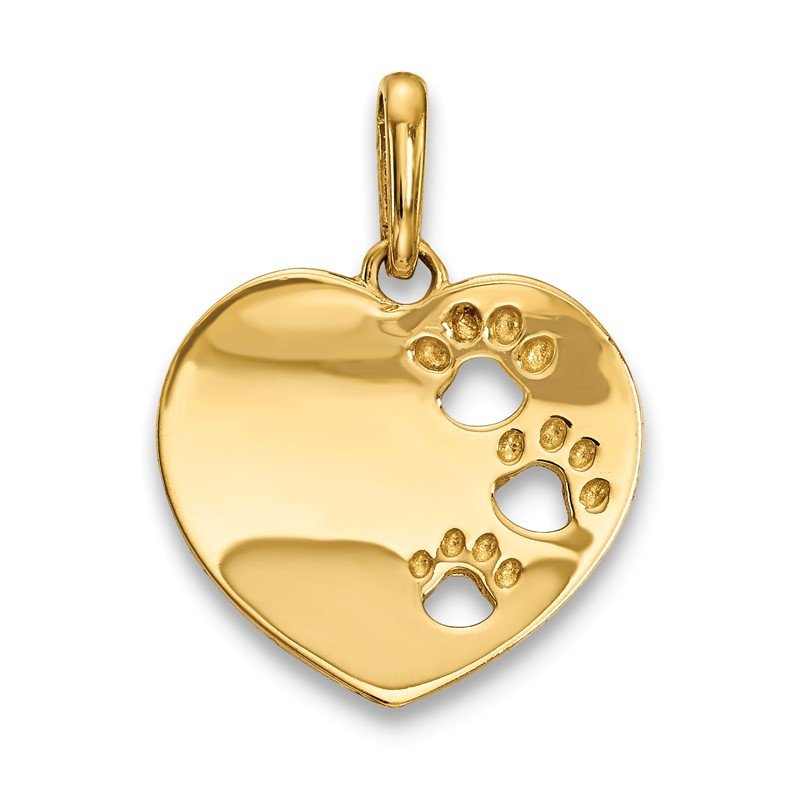 Quality Gold 14k Childrens Heart with Pawprints Pendant