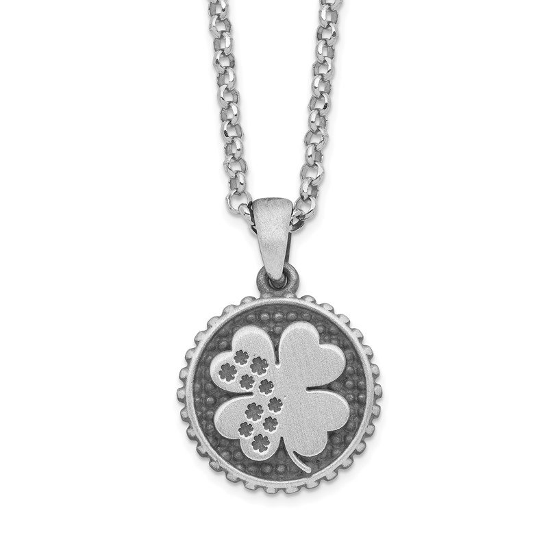 Arizona Diamond Center Collection Sterling Silver Brushed Clover with 1.25in .ext Necklace