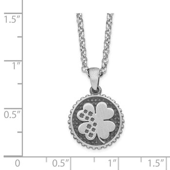 Sterling Silver Brushed Clover with 1.25in .ext Necklace