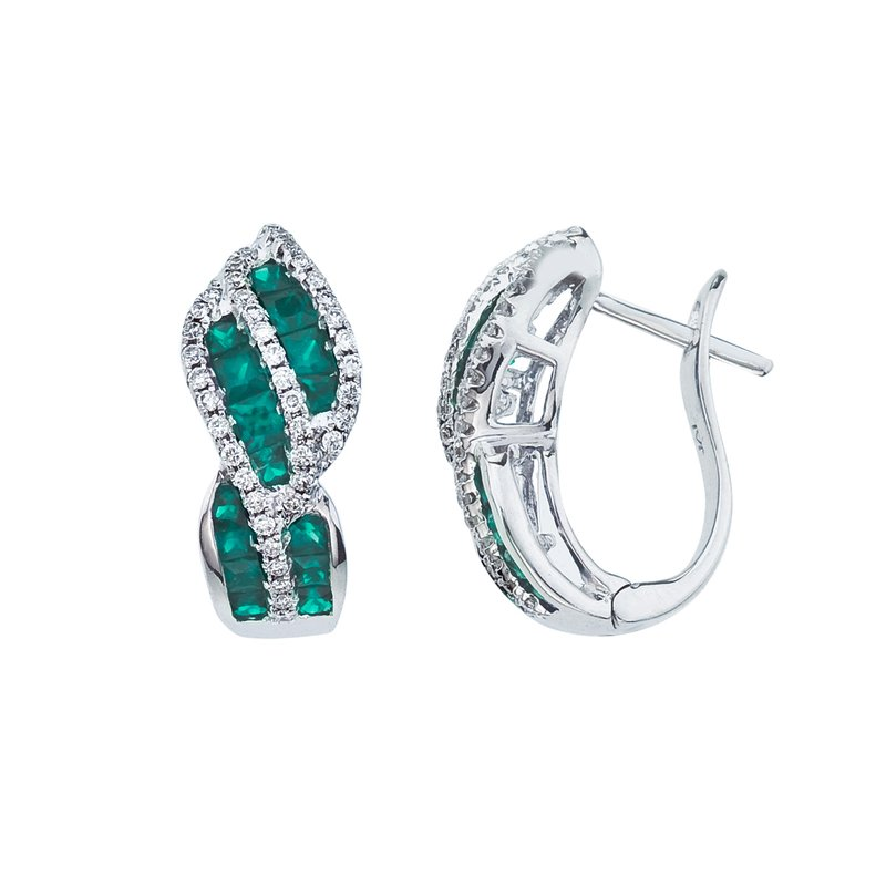 Color Merchants 14k White Gold Emerald and Diamond Swirl Earring