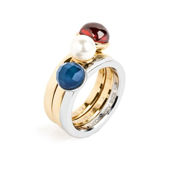 316L stainless steel, gold pvd, blue agathe, red garnet zircon and pearl Swarovski® Elements.