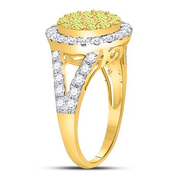 14kt Yellow Gold Womens Round Yellow Diamond Circle Frame Cluster Ring 1-5/8 Cttw