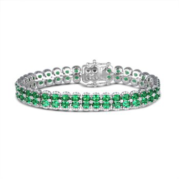 Double Oval Emerald and Diamond Bracelet