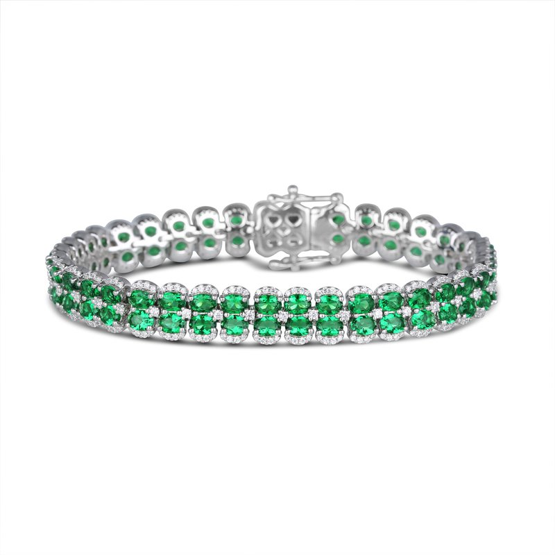 Fana Double Oval Emerald and Diamond Bracelet