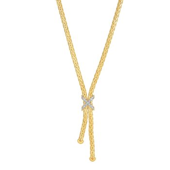 14K Gold Woven Lariat X Diamond Necklace