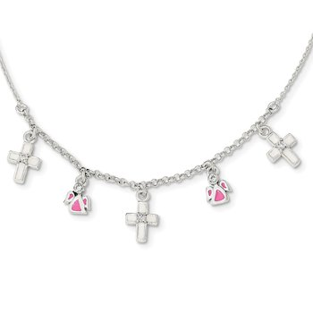 Sterling Silver Enamel CZ Cross and Angels Childs Necklace