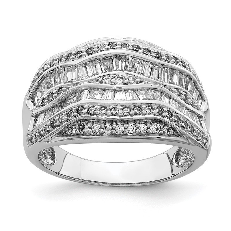 Sterling Silver Rhodium-plated Fancy CZ Baguette Ring