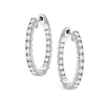 Diamond Inside Outside Hoops in 14k White Gold with 40 Diamonds weighing 2.05ct tw