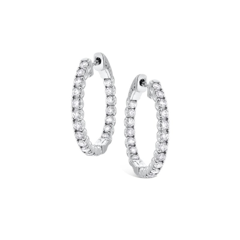 MAZZARESE Fashion Diamond Inside Outside Hoops in 14k White Gold with 40 Diamonds weighing 2.05ct tw