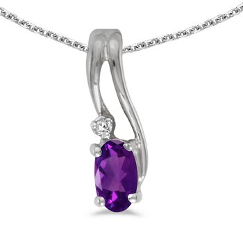10k White Gold Oval Amethyst And Diamond Wave Pendant
