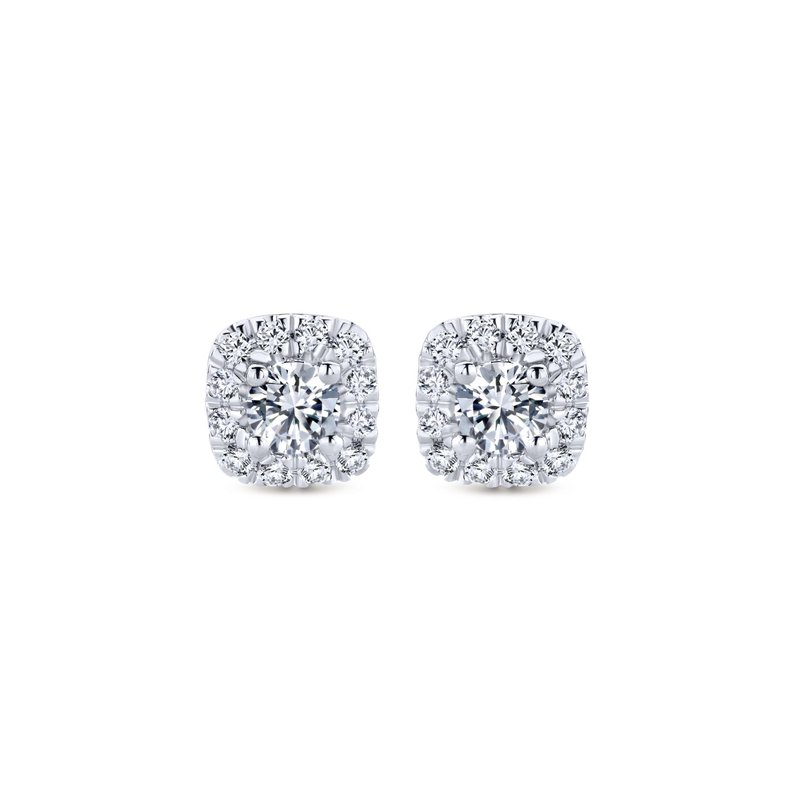 Gabriel Fashion 14k White Gold Cushion Halo Round Diamond Stud Earrings