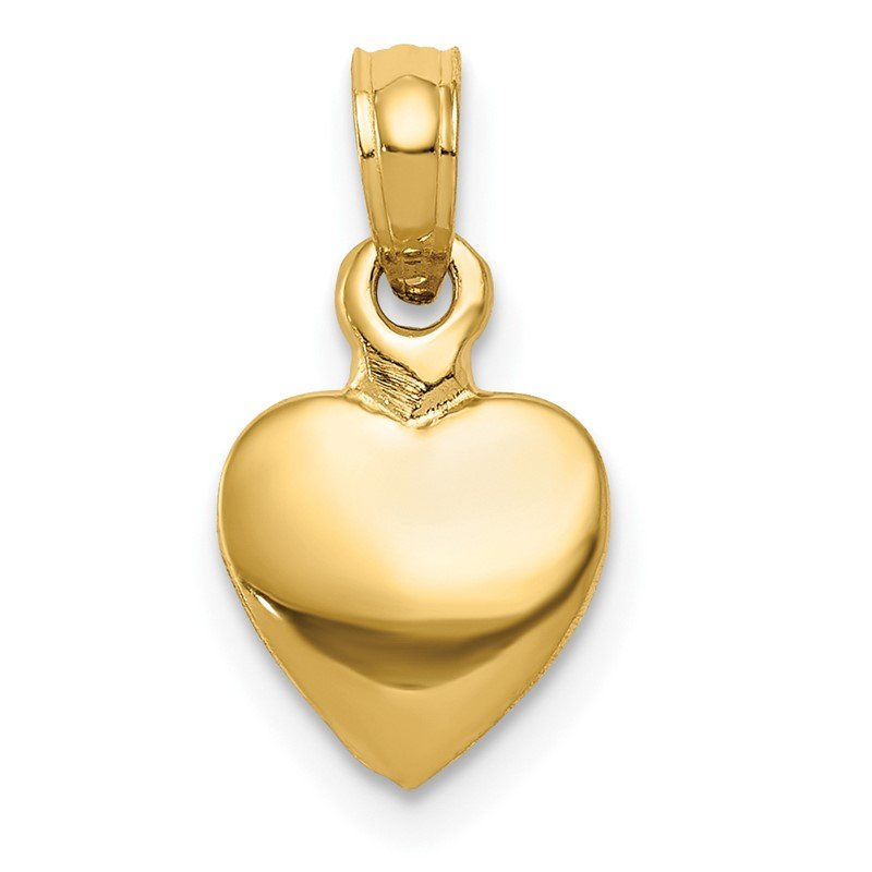 Quality Gold 14K Polished Solid 3D Heart Pendant