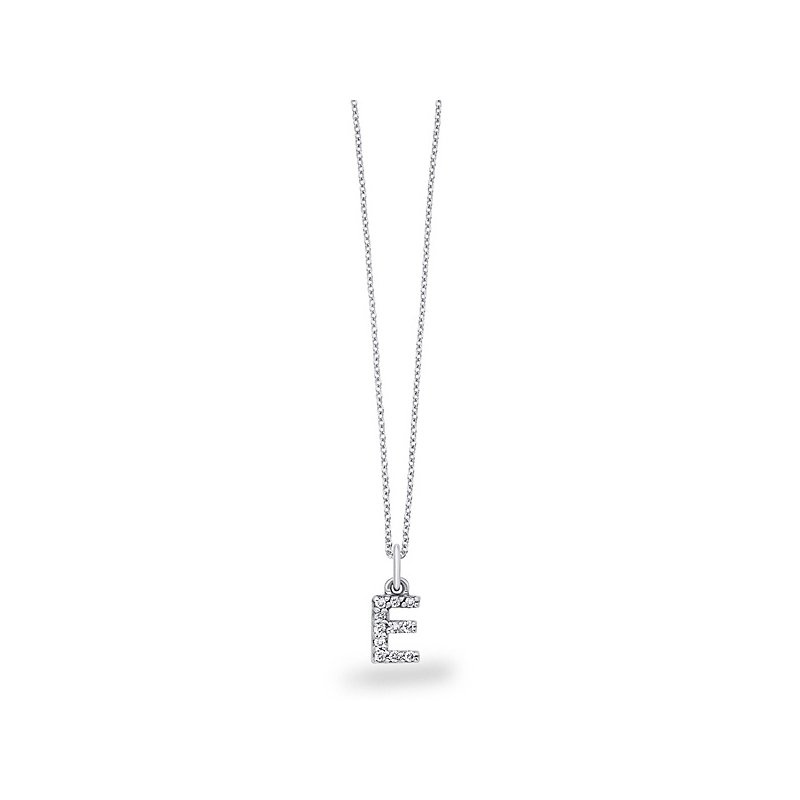 "KC Designs Diamond Baby Block Initial ""E"" Necklace in 14k White Gold with 11 Diamonds weighing .09ct tw."