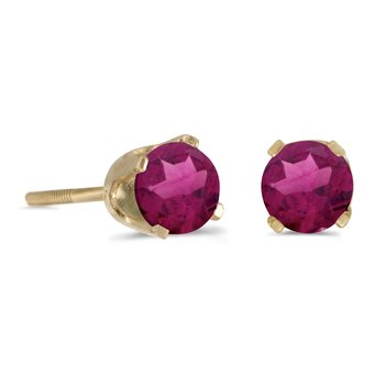 4 mm Round Rhodolite Garnet Screw-back Stud Earrings in 14k Yellow Gold
