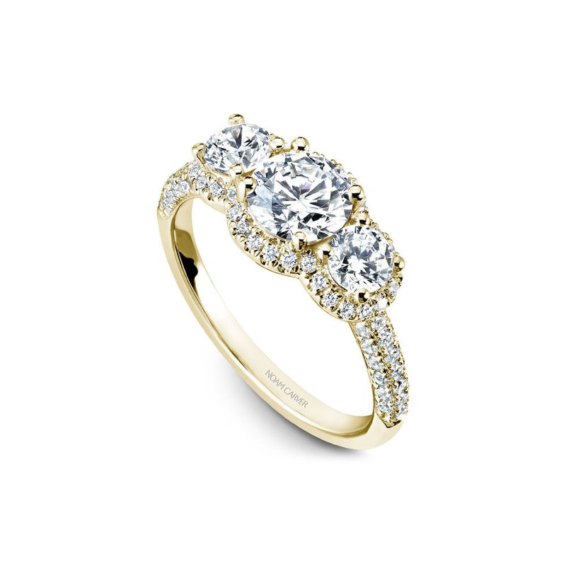Noam Carver Three-Stone Halo Engagement Ring