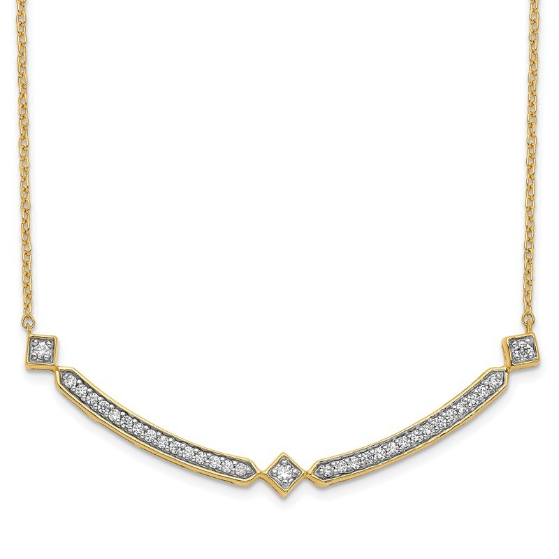 Quality Gold 14k Diamond Curved Bar 18 inch Necklace
