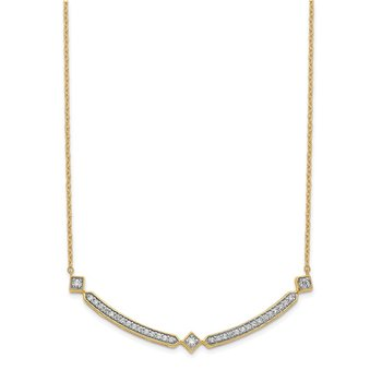 14k Diamond Curved Bar 18 inch Necklace